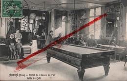 (Oise) Noyon - 60 - Hôtel Du Chemin De Fer, Salle Du Café (animée) Circulé 1913 (petit Manque En Haut à Droite) - Noyon