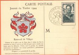 FRANCIA - France - 1944 - 4F Bugeaud + Special Cancel Journée Du Timbre - Troyes - Carte Postale Renouard De Villayer - Storia Postale