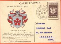 FRANCIA - France - 1944 - 1,50+3,50F Journée Du Timbre + Special Cancel - Troyes - Carte Postale Renouard De Villayer - - Storia Postale