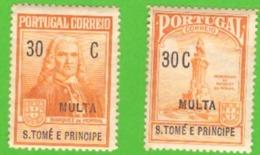 SãoTomé E Príncipe - 1925 - Taxa De 1925 Pró Monumento Ao Marquês De Pombal / Inscrição MULTA # MNH # - St. Thomas & Prince