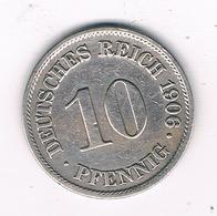 10 PFENNIG  1906 A  DUITSLAND /1144/ - [ 2] 1871-1918 : Empire Allemand
