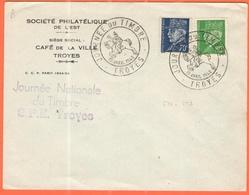 FRANCIA - France - 1942 - 70c + 80c Pétain + Special Cancel Journée Du Timbre - Société Philatélique De L'Est - Troyes - Storia Postale
