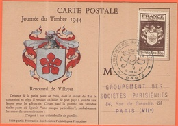 FRANCIA - France - 1944 - 1,50+3,50F Journée Du Timbre + Special Cancel - Paris - Carte Postale Renouard De Villayer - V - Storia Postale