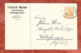 Karte, Wacker Eisenhandlung, EF Germania, Per Bahnpost, Puettlingen Nach Wallerfangen 1917 (69500) - Deutschland