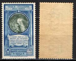 ITALIA - ISOLE ITALIANE DELL'EGEO - 1932 - PRO SOCIETA' DANTE ALIGHIERI - LEONARDO DA VINCI - POSTA AEREA - MH - Egée