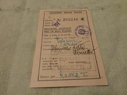 BIGLIETTO PALERMO -CARISIO-BIGLIETTO GRATUITO 1951 - Chemins De Fer