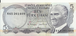 TURQUIE 5 LIRA 1976 UNC P 185 - Turquie