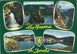 CPM. MULTIVUES  . FRONTIERE FRANCO / SUISSE . BASSINS ET SAUT DU DOUBS . AFFR AU VERSO LE 13-6-1979 . 2 SCANES - France