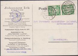 1928. 2 X 10 Pf. DANZIG 16.8.28. To Kopenhagen. (MICHEL 194) - JF310412 - Danzig