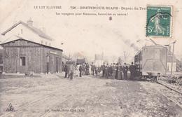 """CPA (46) BRETENOUX-BIARS  La Gare (Intérieur) Départ Du Train """"En Voiture !"""" (2 Scans) - Autres Communes"""