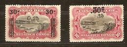 Belgisch Congo Belge 1923 OCBn° 104A-105A (*) MLH Cote 36,00 Euro - 1894-1923 Mols: Neufs