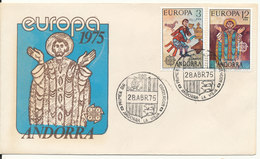 Andorra Spain FDC 28-4-1975 EUROPA CEPT Complete Set Of 2 With Cachet - Europa-CEPT