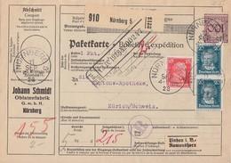 DR Paketkarte Mif Minr.343,391,2x 392 Nürnberg 11.9.28 Gel. In Schweiz - Briefe U. Dokumente