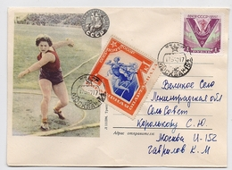 MAIL Post Cover USSR RUSSIA Sport Runner Throwing Disk - 1923-1991 UdSSR
