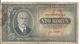 TCHECOSLOVAQUIE 100 KORUN ND1945 VG+ P 63 - Tchécoslovaquie