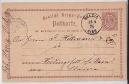 (BAD) BELZIG POSTKARTE 1874 FÜR HEIDINGSFELD CARTE POSTALE ENTIER POSTAL BRANDEBOURG - Alemania