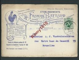Ville-lez- Pommeroeul. Etablissement François Battard. Fabrique De Chicorée, Vins, Bières...1930.  2 Scans - Bernissart