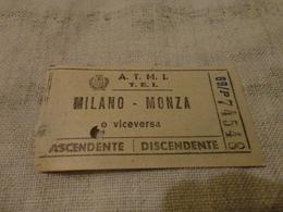 BIGLIETTO  BUS MILANO - MONZA - ANNI 60 - Autobus