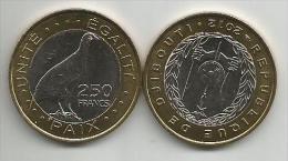 Djibouti 250 Francs 2012. High Grade Bimetallic Bird - Djibouti