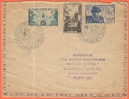 FRANCIA - France - 1945 - 2F La France D'Outre-Mer + 4F+2F Oradour + 2F+3F Journée Du Timbre + Special Cancel La France - Storia Postale