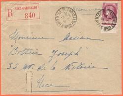FRANCIA - France - 1940 - 3F Cérès - Recommandée - Viaggiata Da Nice Per Nice - Francia