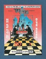 COREA DEL NORD - 1986 - BF OBLITERATO DA 80 Ch. - CAMPIONATO DEL MONDO DEGLI SCACCHI 1984/85 - IN OTTIME CONDIZIONI. - Scacchi
