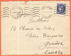 FRANCIA - France - 1941 - 2,50F Cérès - Viaggiata Da Nice Per Genève - Storia Postale