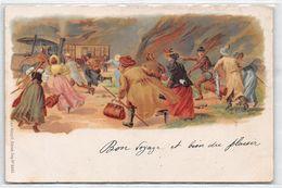 Litho. Touristes Qui Courent Pour Prendre Le Train - Litho. Touristen Laufen, Um Den Zug Zu Nehmen - Altri
