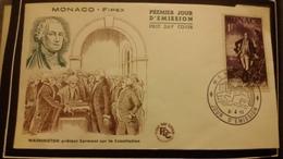 1°  Jour.d'émission..FDC ..MONACO .. Washington  Prétant Serment Sur La Consitution  1956 - Joint Issues