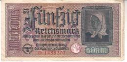 3737    DRITES REICH  50 MARK   STEMPEL  O. F . Osvobodilna Fronta   SLOWENISCHE PARTISANEN  Selten - 50 Reichsmark