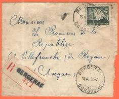 FRANCIA - France - 1943 - 4,50F Pétain - Recommandée - Viaggiata Da Bergerac Per Villefranche-de-Rouergue - Storia Postale