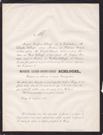 CINEY Xavier  SCHLOGEL Docteur Bourgmestre De Ciney 72 Ans 1864 Faire-part Familles De FABRIBECKERS BOSERET - Obituary Notices