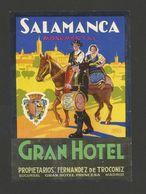 LUGGAGE LABEL HOTEL SALAMANCA SPAIN ESPAÑA Horse Horses Music Drum Chevaux - Etiquettes D'hotels