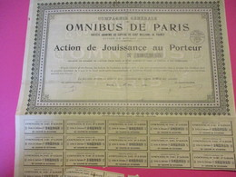 Action De Jouissance Au Porteur/Compagnie Générale Des Omnibus De Paris/ /1939    ACT177 - Chemin De Fer & Tramway