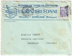GUINGAMP Côtes Du Nord Imprimé Entête Union Bretonne Pommes Terres Avec Prix Gandon 5F Violet Yv 883 Ob Meca 9 10 1952 - France
