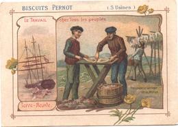 Figurina, Chromo, Victorian Trade Card. Biscuits Pernot. Terre-Neuve, Tranchage Et Séchage De La Morue. - Pernot