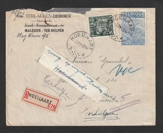 """Nr. 763 + 771 Op Aangetekende Brief HOEILAART.  Handgeschreven Etiket  """"terug Op Verzoek Van Bestemmeling"""" - 1948 Exportation"""