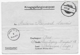 Correspondance Prisonnier Soldat Belge Guerre 40-45 Oflag VI A Vers Ans (Liège) - Other