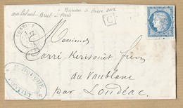 Cérès 60 Sur LAC De Pontivy Du 17/6/74 Marque Boite Urbaine Verso Ambulant Brest Paris + Bureau Passe 3112 - 1849-1876: Classic Period