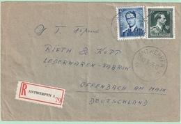 Nr. 696 + 926 Op Aangetekende Brief Van ANTWERPEN 3 Naar DUITSLAND - Lettres & Documents