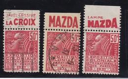 PUBLICITE: FEMME DE FACHI 50C ROUGE LAMPE MAZDAx2 +  LESSIVE LACROIX OBLITERES H ACCP 683 688 689 - Advertising