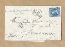 Napoléon 22 Sur Lettre De Loudun Vers Châteauroux 25/9/1867 Verso Ambulant Jour Et Nuit Paris Vierzon MP OR - 1849-1876: Classic Period