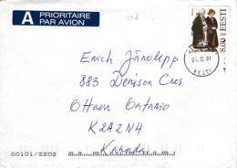 Estonia To Canada 2001 Cover Sc #401 8k Polva Folk Costume - Estonie