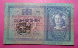 FIUME - RIJEKA 10 KRONEN ND 1918 (OLD DATE 1904), ITALY, CROATIA, AUSTRIA, HUNGARY, SEAL ON AUSTRIA, 095446 - 2985, RARE - [ 3] Militaire Uitgaven