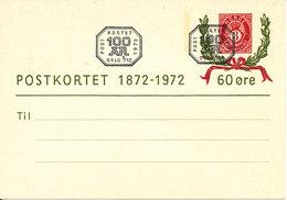Norway FDC 9-10-1972 Postcard Postal Stationery ( Postkortet 1872 - 1972 60 öre) - Norway