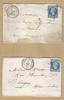 Napoléon 14 B Sur Enveloppe De Lessard En Bresse Vers Angers PC 1699 TAD Perlé 1860 Et 62 Indice 19 Avec Défaut - 1849-1876: Classic Period