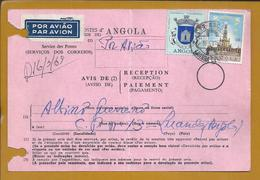 Notice Of Reception From Angola To Kinshasa Congo In 1968. Stamps Of Fatima And Village Of Mucaba. 2sc. Rare. - Angola