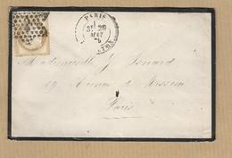 Cérès 55 Sur Enveloppe Paris A Paris étoile N°2 - Postmark Collection (Covers)