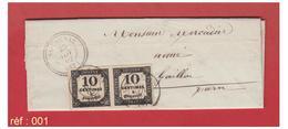 FRANCE-TARN-1862--LETTRE DE SALVAGNAC POUR GAILLAC -- TAXE AVEC UNE PAIRE DU N°2-- - 1849-1876: Klassik