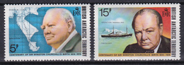 British Antarctic Territory BAT 1974 Churchill Birth Centenary (Yv 62 Et 63 ) 2 Stamps MNH** - British Antarctic Territory  (BAT)